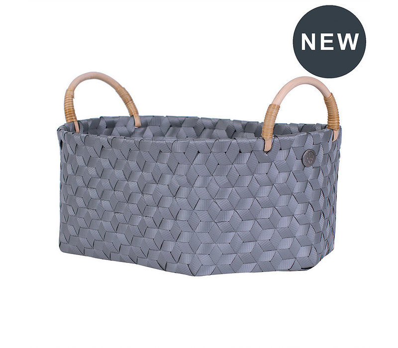 Handed By Dimensional Ovalen Basket Dark Grey size M with Ratan Handles