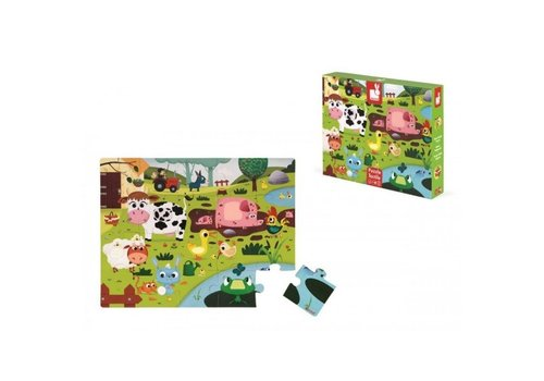 Janod Janod Giant Tactile Puzzle Farm Animals 20 pcs