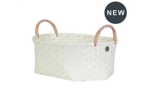 Handed By Handed By Dimensional Open oval basket ecru white size M with rattan handles ecru white