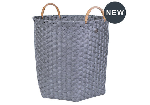 Handed By Handed By Dimensional Round Basket Dark Grey L with Rattan Handles