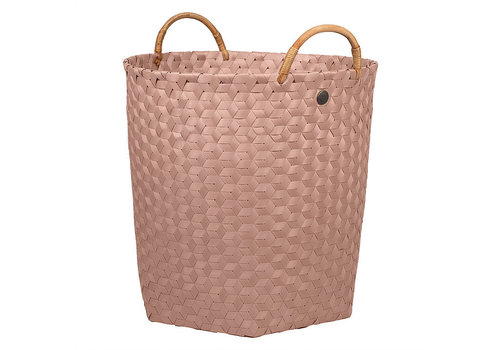 Handed By Handed By Dimensional Round Basket Copper Blush L with Rattan Handles