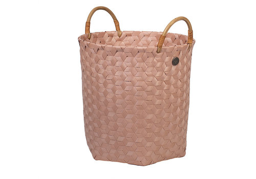Handed By Handed By Dimensional Round Basket Copper Blush M with Rattan Handles