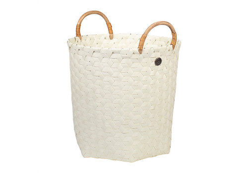 Handed By Handed By Dimensional Round Basket Ecru White M with Rattan Handles