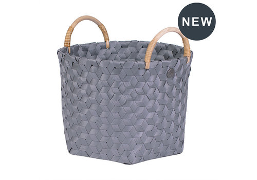 Handed By Handed By Dimensional Round Basket Dark Grey S with Rattan Handles