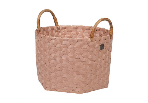 Handed By Handed By Dimensional Round Basket Copper Blush S with Rattan Handles