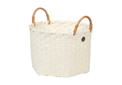 Handed By Handed By Dimensional Round Basket Ecru White S with Rattan Handles