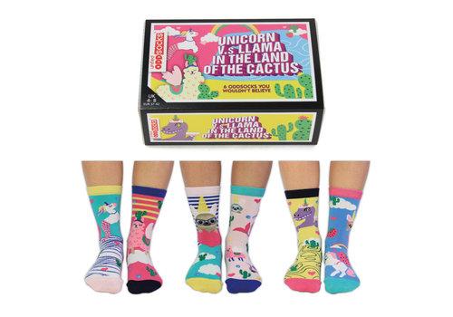 Odd Socks ODD Socks Dames Sokken Lama Unicorn Cactus in Box 3 paar maat 37-42