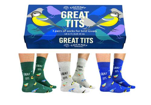 Odd Socks ODD Socks Mannensokken Great Tits in Doos 3 paar maat 39-46