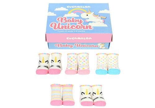 Odd Socks ODD Socks Unicorn Box met 5 paar kindersokken 0 - 12 maanden