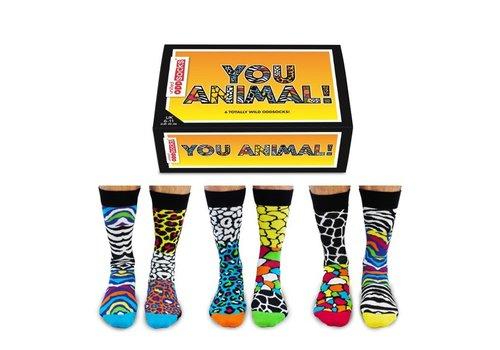 Odd Socks ODD Socks Mannensokken You Animal in Doos 3 paar maat 39-46