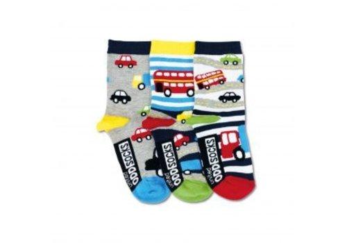 Odd Socks ODD Socks Cars Set met 3 Kindersokken maat 27-30