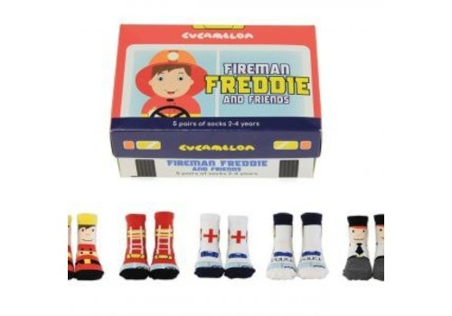 Odd Socks ODD Socks Brandweerman Freddie Box met 5 paar kindersokken 2 - 4 jaar