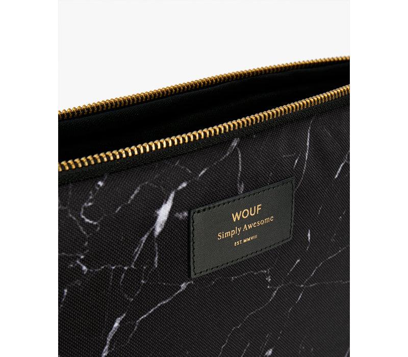 "WOUF Black Marble Laptop Sleeve 15"""