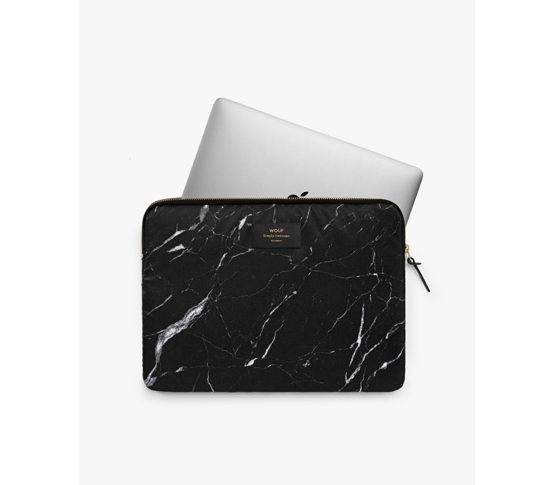 WOUF Black Marble Laptop Hoes 13""