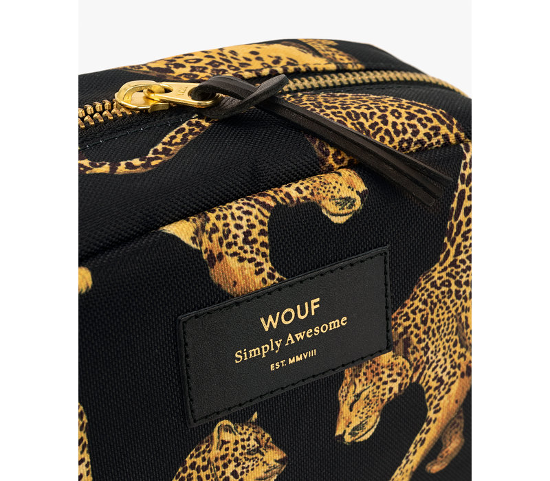 WOUF Black Leopard Big Beauty Toiletry Bag