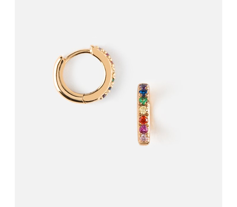 Orelia Earrings Rainbow Pave Gold Huggie Hoops