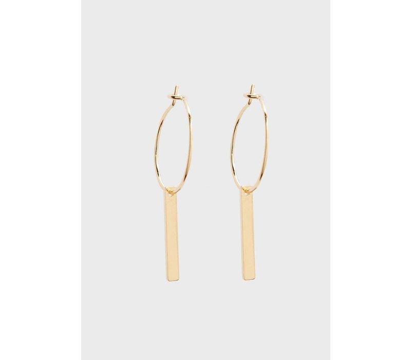 Orelia Earrings Small Metal Bar Drop Hoops
