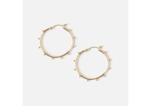 Orelia Orelia Metal Beaded Hoop Earrings