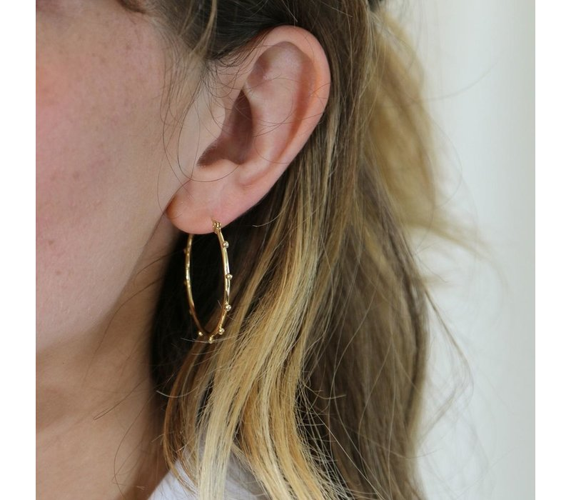 Orelia Metal Beaded Hoop Earrings