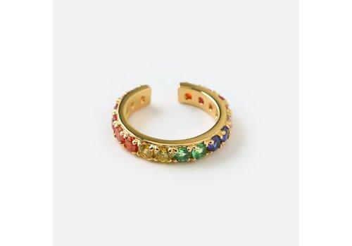 Orelia Orelia Oorbel Fine Pave Rainbow Single Ear Cuff