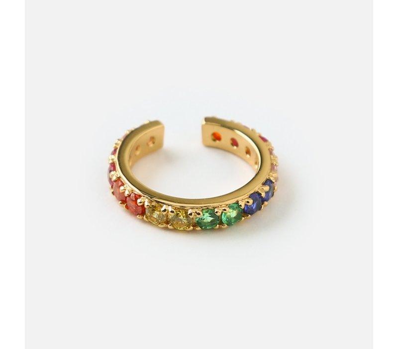 Orelia Oorbel Fine Pave Rainbow Single Ear Cuff