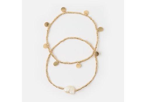 Orelia Orelia Pearl Coin Stretch Bracelet