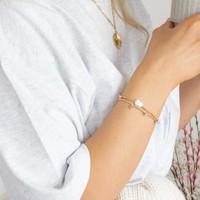 Orelia Stretch Armband Parel en Muntjes