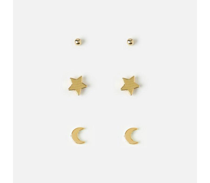 Orelia Set van 3 Paar Oorbellen Ster & Maan