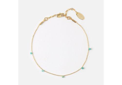 Orelia Orelia Fijne Armband met Kleine Blauw/Groene Steentjes