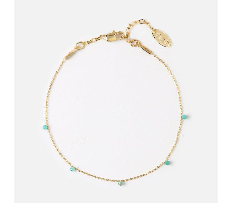 Orelia Fijne Armband met Kleine Groene Steentjes
