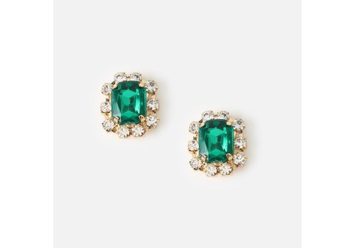Orelia Orelia Gem Crystal Stud Earrings Emerald