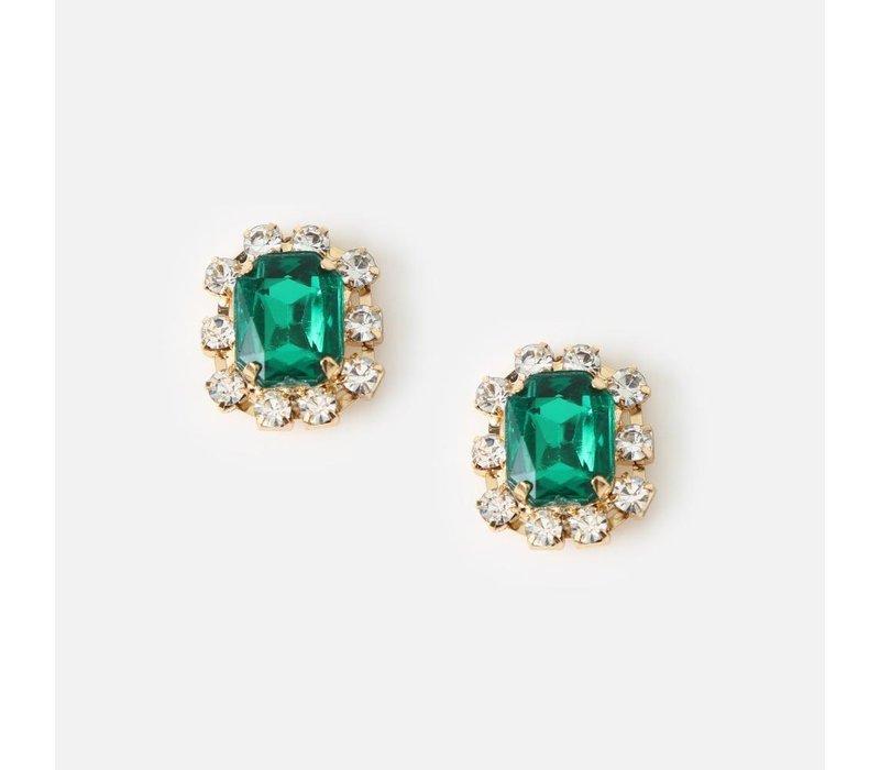 Orelia Oorbellen Smaragdgroene Steen & Crystal