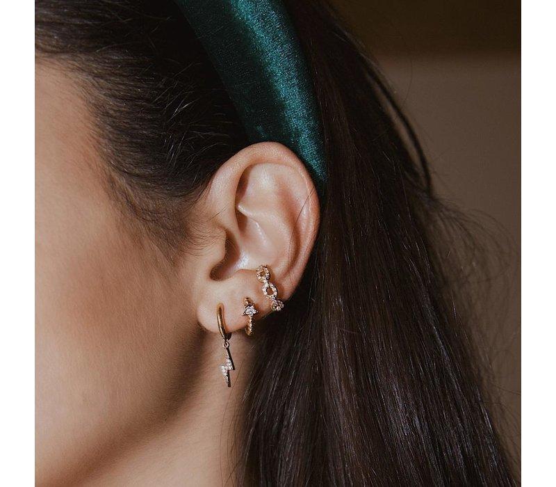 Orelia Lightning, Glitter & Star Ear Party Set of 3 Earrings