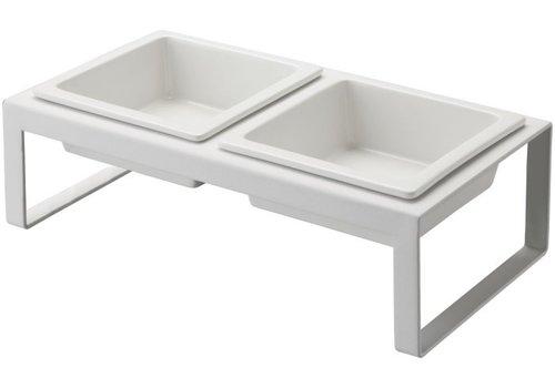 Yamazaki Yamazaki Pet Food Bowl Stand Set White