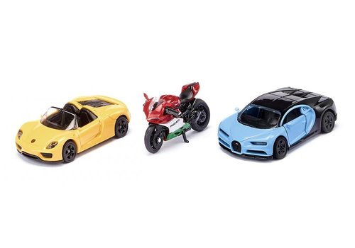 Siku Siku Sportwagens en Motorfiets Set