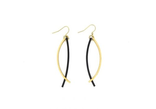 Culture Mix Culture Mix Resin Fishhook Earrings Gold/Black