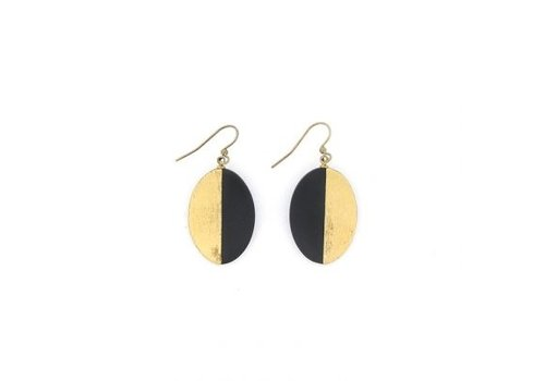 Culture Mix Culture Mix Oval Earrings Black/Gold