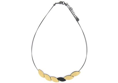 Culture Mix Culture Mix Necklace Leaves Black/Gold