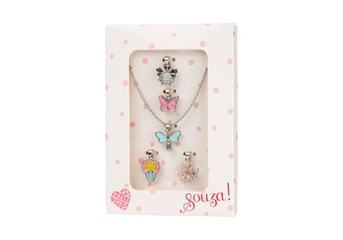 Souza! Souza! Giftbox Metal Necklace with 5 Charms, Silver