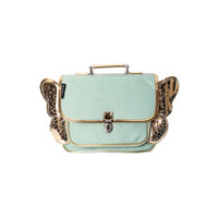 Caramel & Cie Small Light Green Schoolbag with Golden Wings
