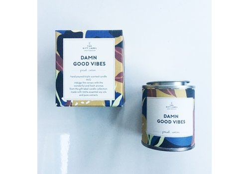 The Gift Label The Gift Label Scented Candle Tin 310g Damn Good Vibes fresh cotton