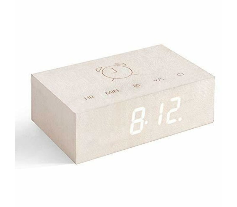 Gingko Flip Click Clock  Alarm Wood