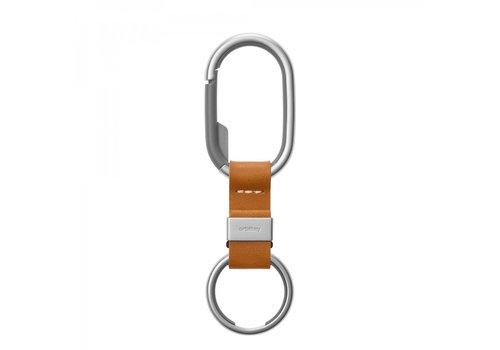 Orbitkey Orbitkey Clip Keyring Cognac Brown Leather + Stainless Steel Grey