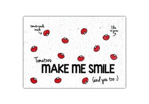 Bloom Bloom Wenskaart met Zaadjes van Tomaat - Tomatoes Make Me Smile