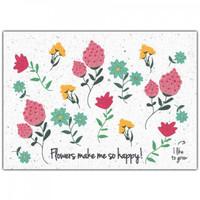 Bloom Wenskaart met Bloemenzaadjes - Flowers Make Me So Happy!