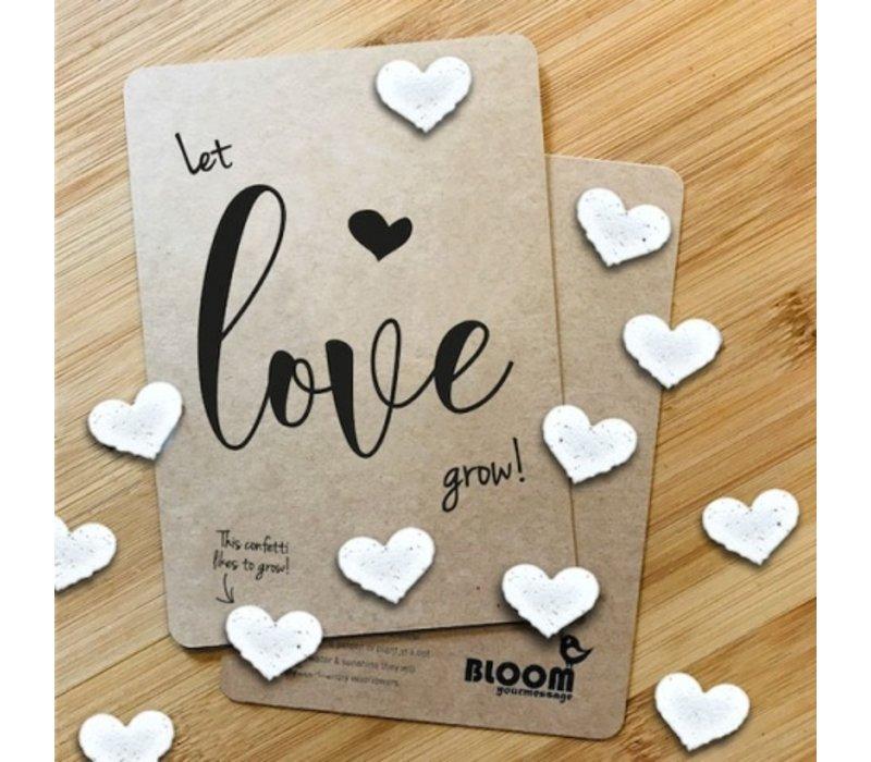 Bloom Bloeiwenskaart met Hartjes - Let Love Grow!
