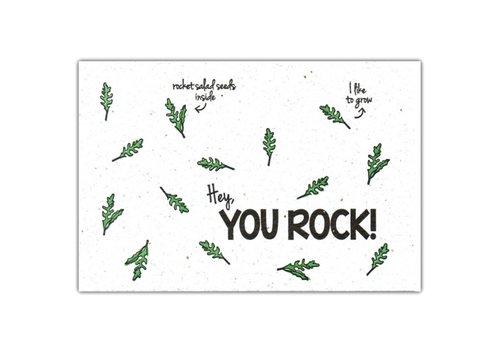 Bloom Bloom Wenskaart met Zaadjes van Rucola - You Rock!