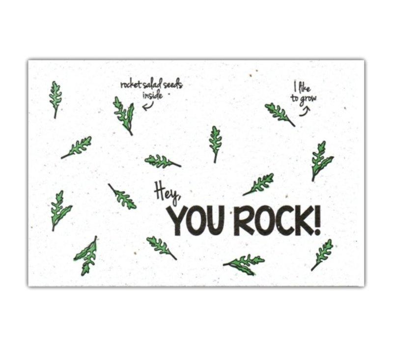 Bloom Wenskaart met Zaadjes van Rucola - You Rock!