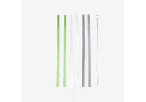 Point-Virgule Point Virgule Set of 6 Glass Drinking Straws with Cleaning Brush