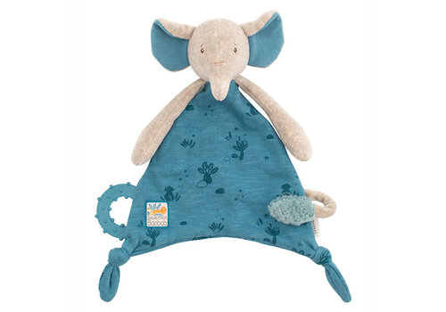 Moulin Roty Moulin Roty Pacifier Comforter 'Sous mon Baobab' Elephant